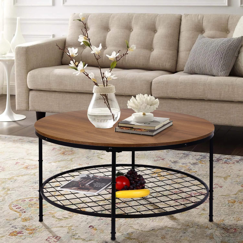 Amolife طاولة قهوة مستديرة ذات سطح خشبي مع رف تخزين مفتوح ، إطار معدني قوي ومتين