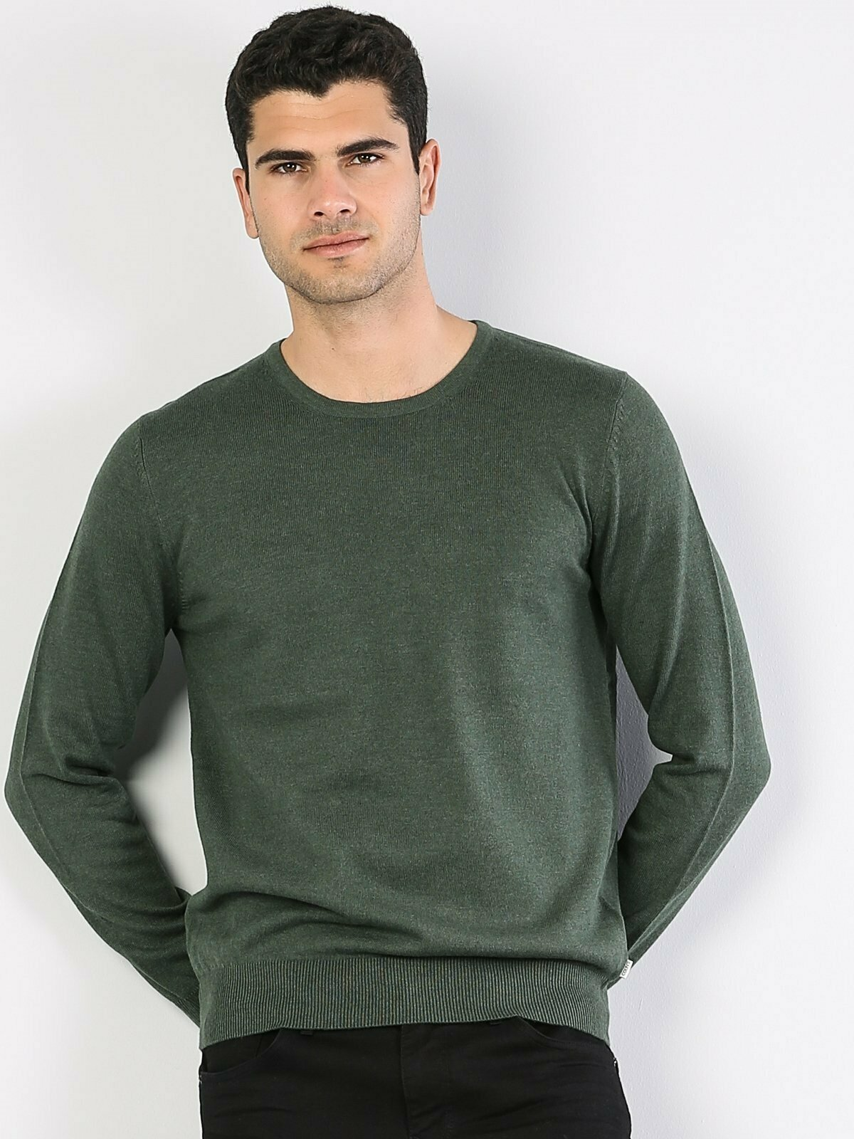 Colins Men Regular Fit Green Heather SweatersMen's sweater fashion sweater outerwear,CL1023186