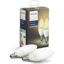 Ampoule intelligente dambiance blanche Philips Hue 2li Ekopaket E14