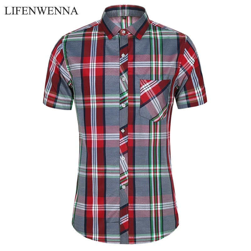 2020 nueva camisa a cuadros de moda para hombres, camisas casuales de verano de manga corta para hombre, blusas hawaianas de playa de talla grande, blusa masculina 5XL 6XL 7XL