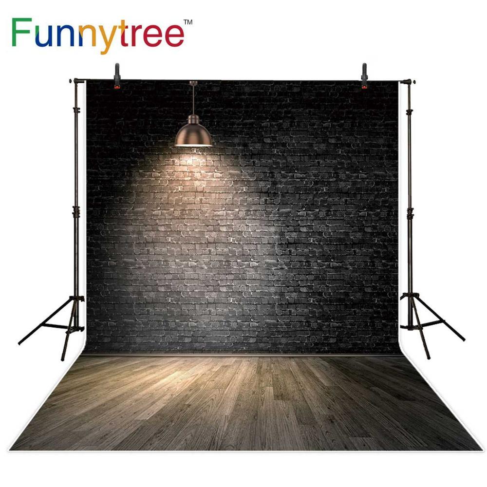 Funnytree grunge fotografia adereços backdrops parede de tijolos madeira recém-nascido crianças photophone fundo para photo studio photocall