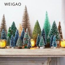 WEIGAO 8pcs Christmas Tree Mini Artificial Trees Christmas Decoration For Home Fake Pine Tree Navidad Natal New Year Xmas Decor