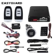 EASYGUARD-alarme de voiture dentrée sans clé   passive, bouton-poussoir de démarrage automatique, tactile, mot de passe, clavier alarme de vibration, sécurité de voiture