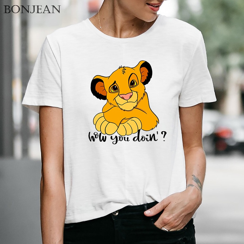 New Arrival Harajuku T-Shirt Funny Simba Cub The Lion King Print O-Neck Cartoon Woman Clothes 2020 Breathable Aesthetic Tee Tops