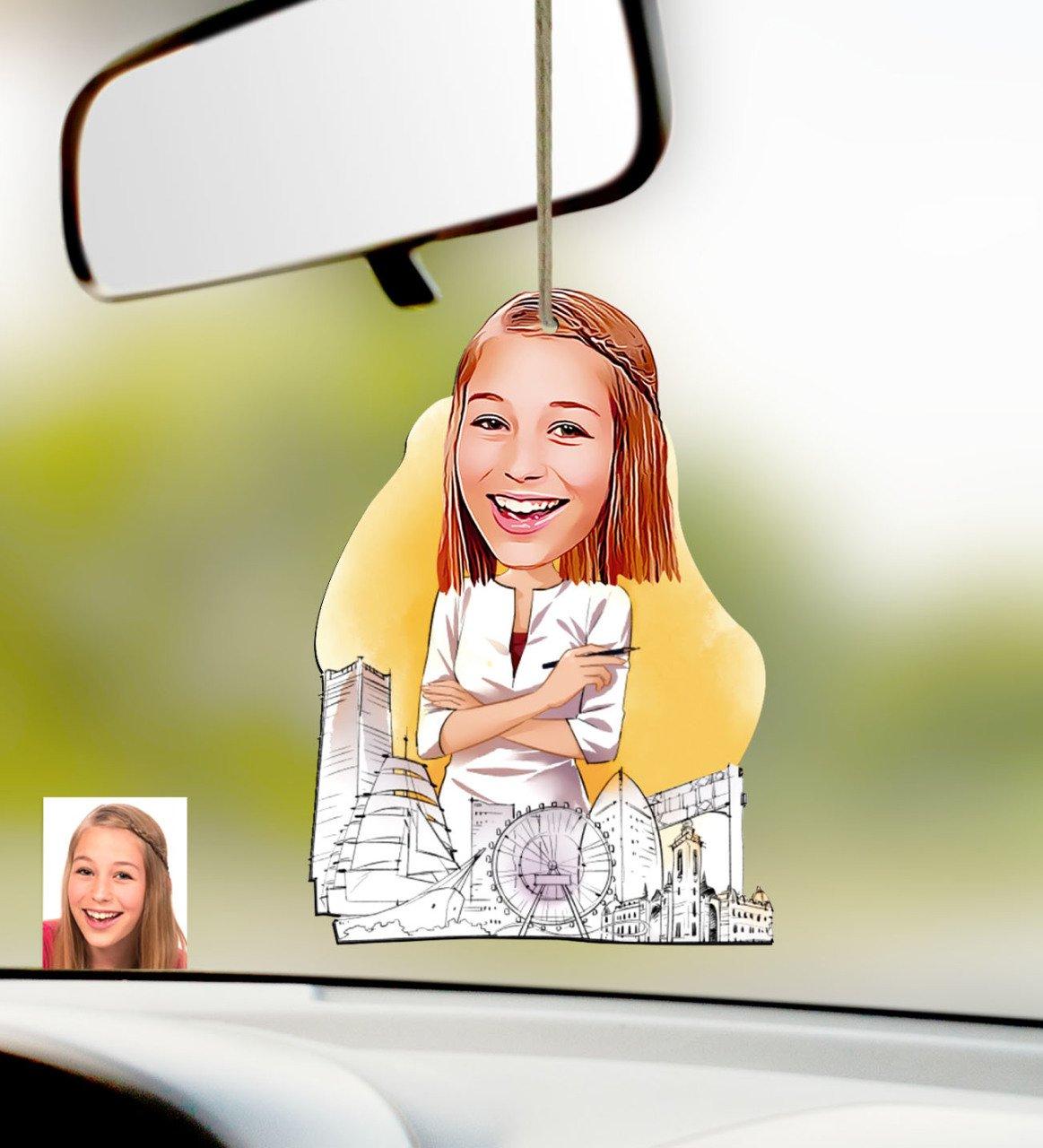 مرآة رؤية خلفية خشبية للسيارة ، زخرفة شخصية للمعماري النسائي