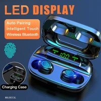 touch control bluetooth 5 0 earphones wireless headphones 9d stereo headset 3500mah charging case led display fit all smartphone