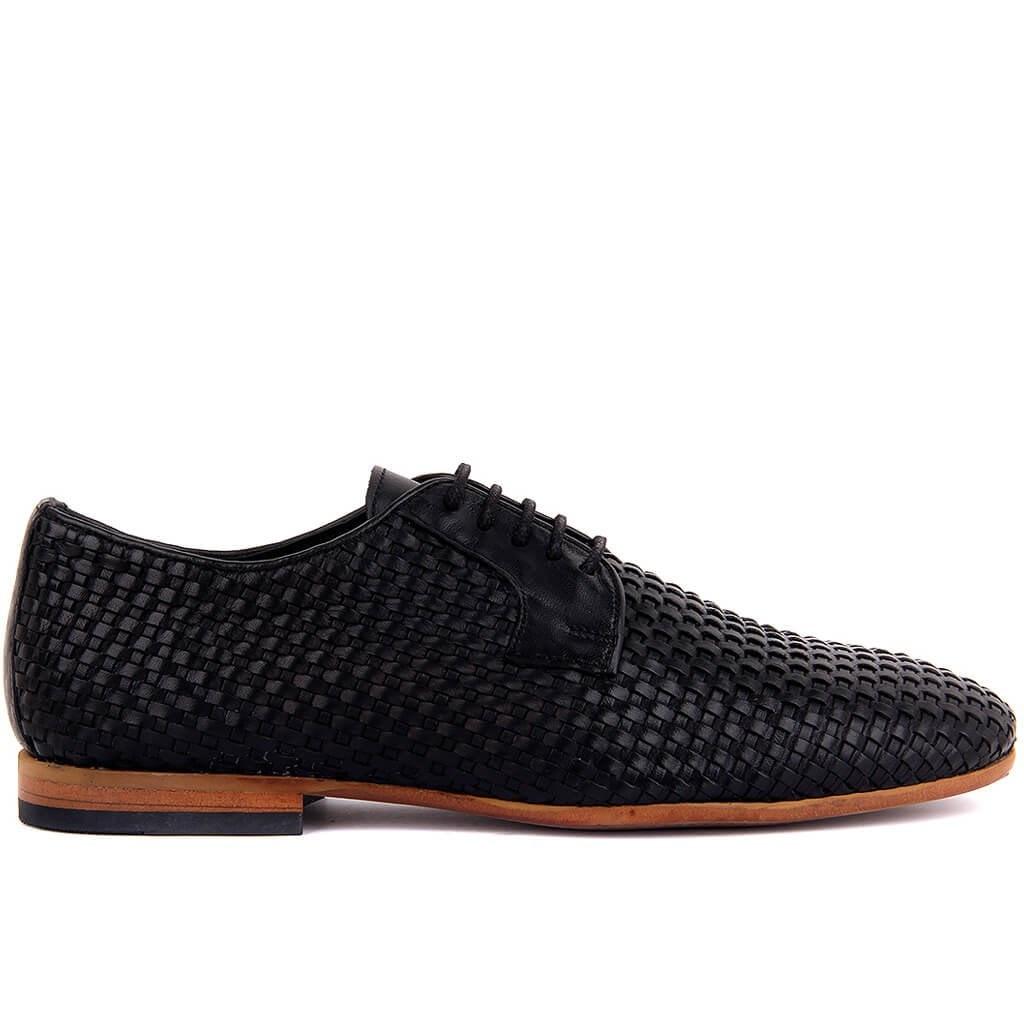 Sail-Lakers-أحذية شبكية من الجلد الأسود للرجال