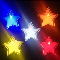 custom logo diy led light brooch yellow green red white blue color star shape led light pin for promotional gift