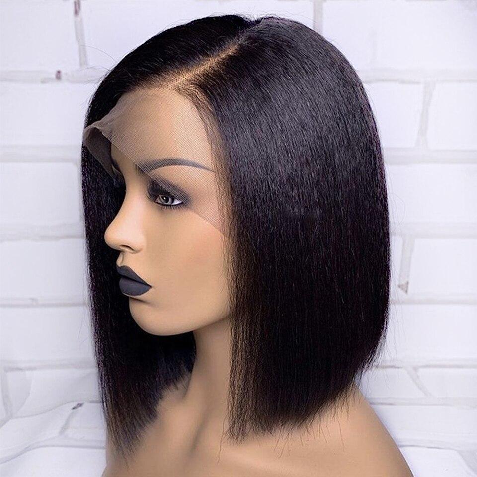 Pelucas de cabello humano 13*4 Bob corto con encaje frontal para mujeres, cabello lacio y rizado, cabello Rosa Pre desplumado Remy brasileño Pre desplumado