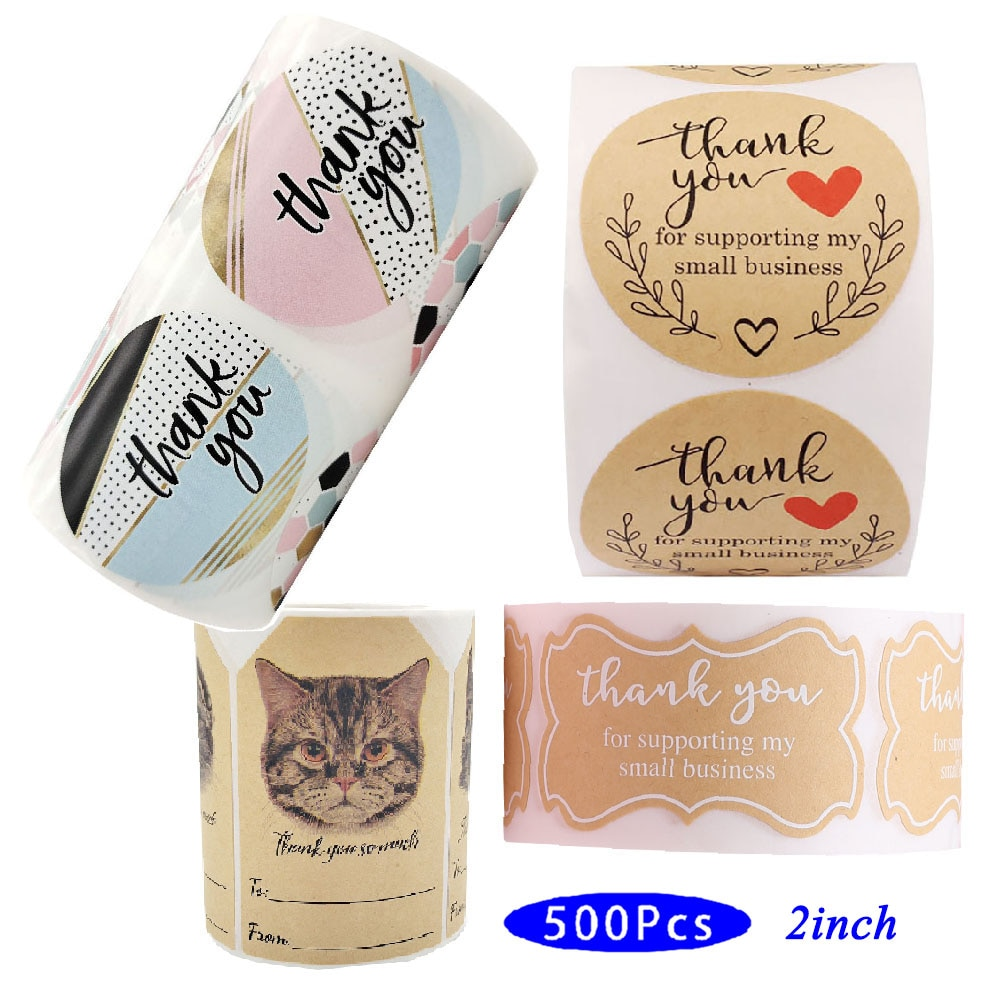 2inch 500Pcs Vintage Thank You Stickers Cute Stationery Aesthetic Order Label Scrapbook Supporting My Small Business Supply Seal
