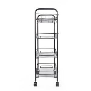 【US Warehouse】Exquisite Honeycomb Net Four Tiers Storage Cart with Hook Black