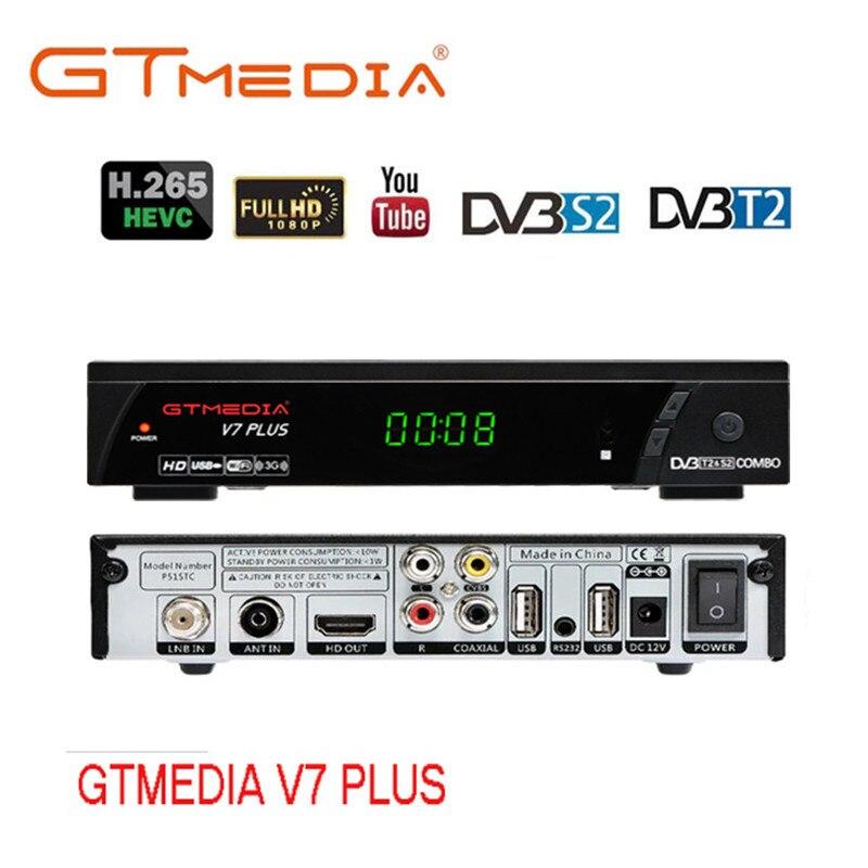 Gtmedia v7 plus DVB-S/s2 + t/t2 1080p hd completo receptor satélite suporte h.265 youtube receptor com usb wi-fi fta tv receptor