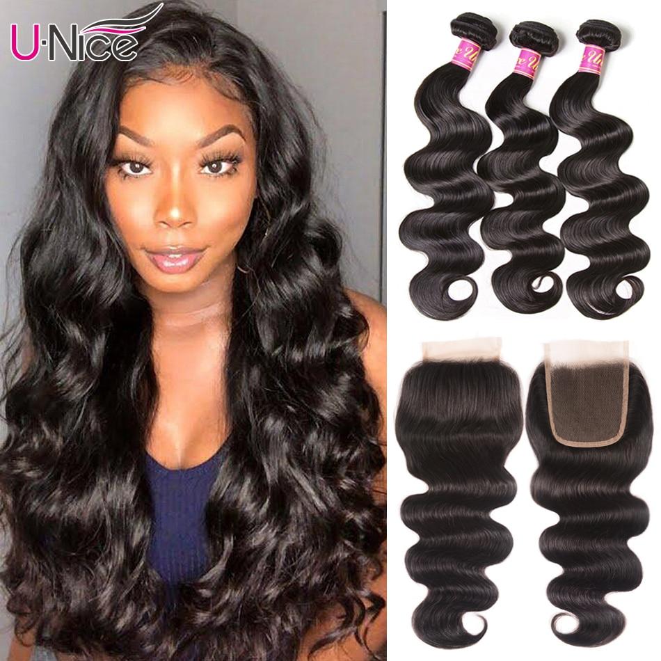 UNICE Hair-مجموعة نسج برازيلية طبيعية مع إغلاق من الدانتيل ، شعر مموج ، 4 × 4 ، 8 إلى 30 بوصة ، 5X5 HD