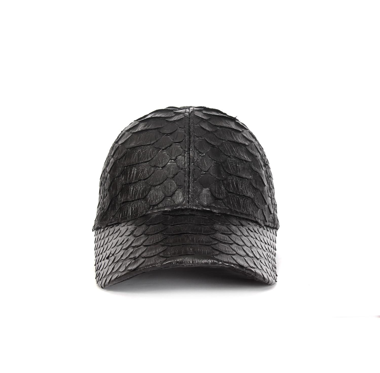 Handmade Black Baseball Cap with Python Snake Skin Exotic Leather, Unisex Luxury Hats for Men Boys Ladies, Spring Summer 2021
