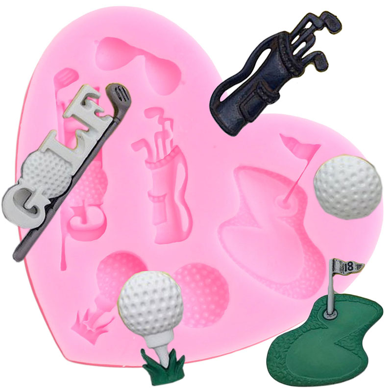 Golf Series Silicone Mold 3D Course Sunglasses Fondant Molds Cake Decorating Tools Candy Polymer Cla