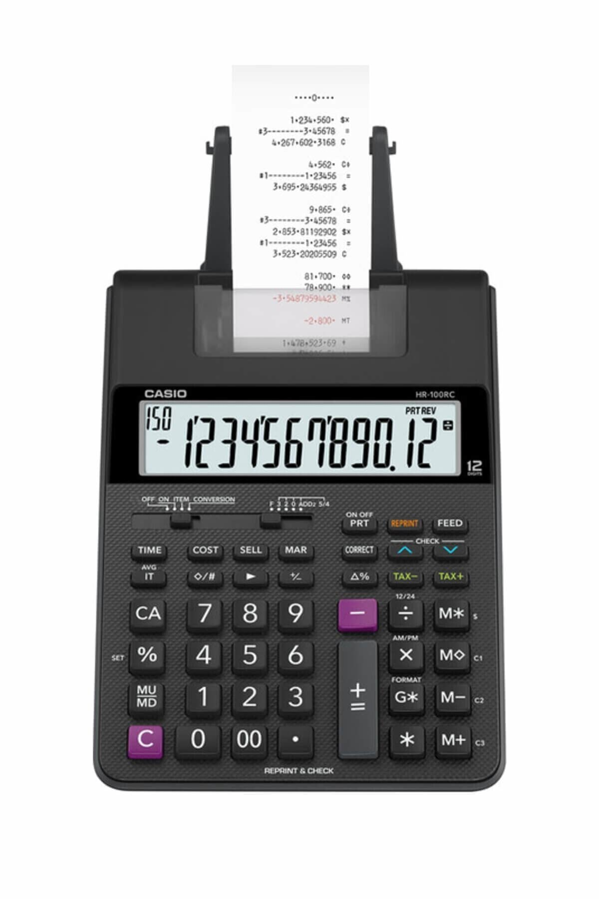 كاسيو Hr-100rc-bk-dc آلة حاسبة الشريط طباعة آلة حاسبة عرض 2 لون 12 كبير