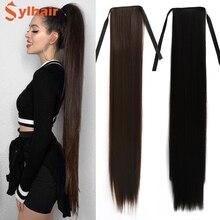 """Sylhair-Peluca de cabello sintético de 32 """", postizo de cola de caballo, Ultra larga, con Clip de extensión"""