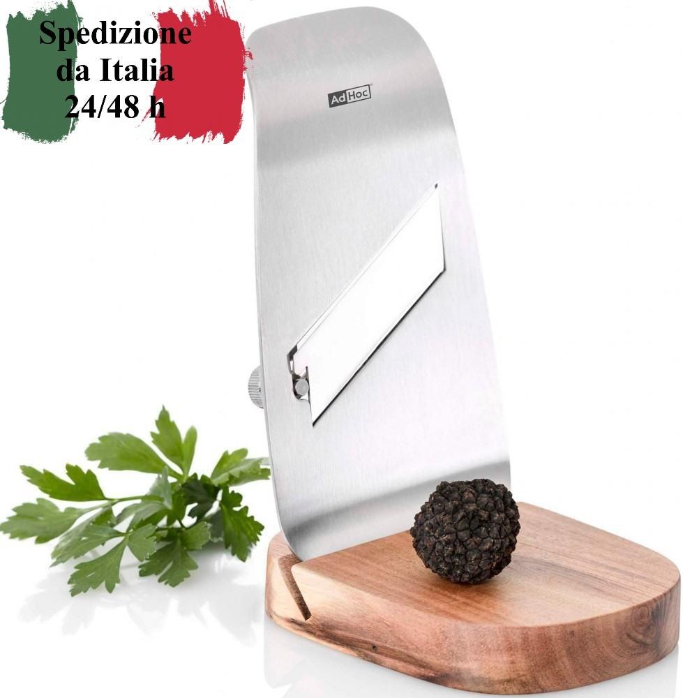 Ad hoc cortadora gourmet spessore lama regolabile en acero inox con supporto en legno no lavabile en lavastoviglie