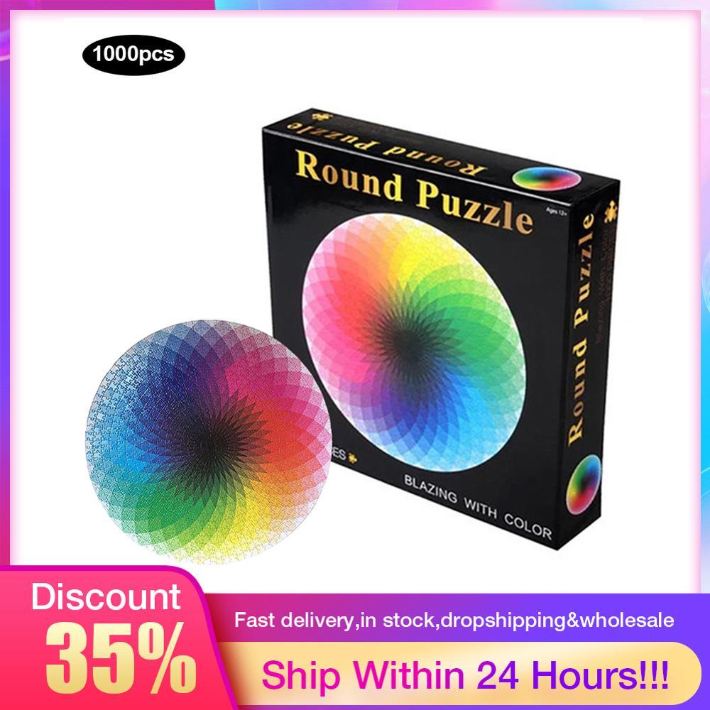 1000 unids/set colorido Arco Iris redondo foto geométrica rompecabezas adultos niños DIY educativo reducir el estrés juguete rompecabezas papel