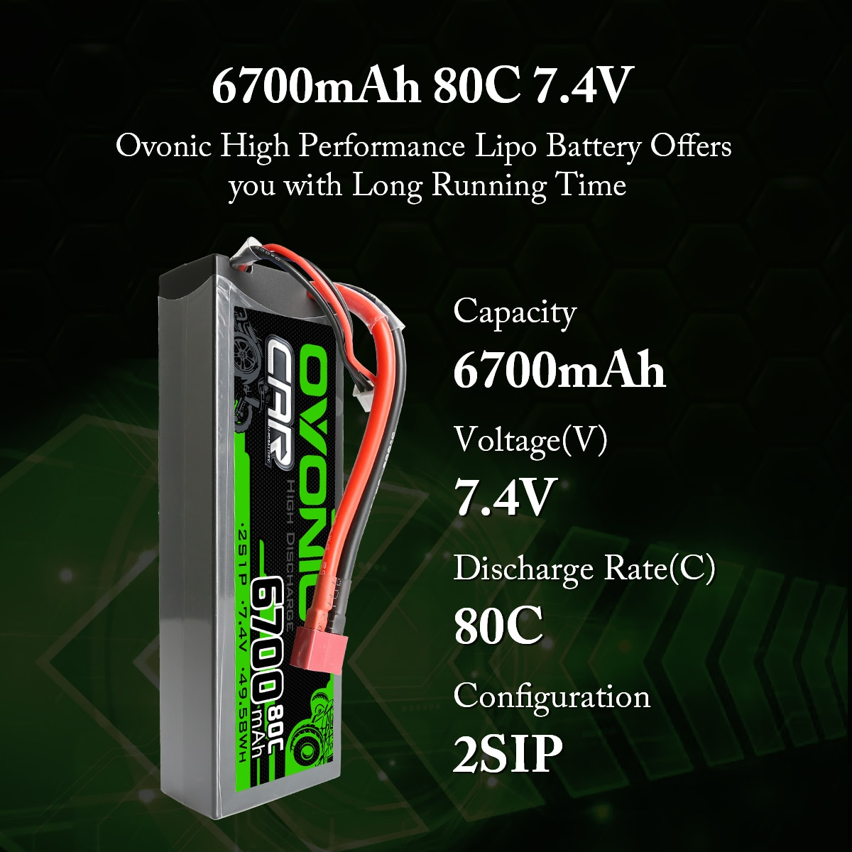 Ovonic 2 Units 80C 6700mAh 2S 7.4V Hardcase LiPo Battery With Deans Plug For Granite BLX 1/10 RC Car Truck Buggy Truggy RC parts enlarge