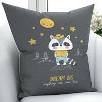 Else Night Stars Funny Cute Raccoon 3D Print Microfiber Throw Pillow Case Cushion Covers Square Hidden Zipper 45x45cm