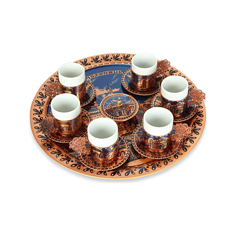 جامع السلطان أحمد تحت عنوان صينية مزخرفة طقم فناجين قهوة تركي نحاسي لمدة 6 أشخاص