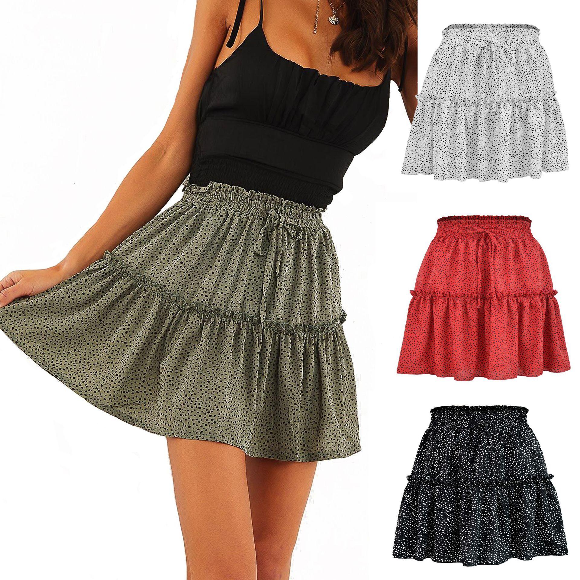 Woman skirts 2021 summer tall waist chiffon printing pleating wave point skirts womens