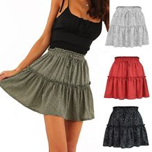 Woman skirts 2021 summer tall waist chiffon printing pleating wave point skirts womens