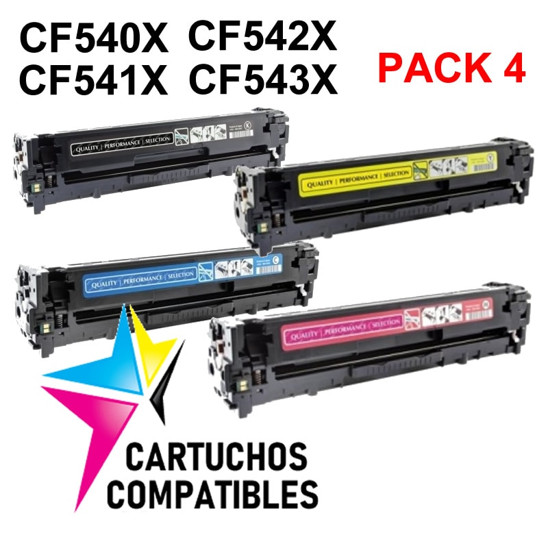 HP CF540X PACK 4 COMPATIBLE PRO MFP M280 M280NW M281 M281FDN M281FDW M254 M254DW M254NW CF541X CF542X CF543X 203X