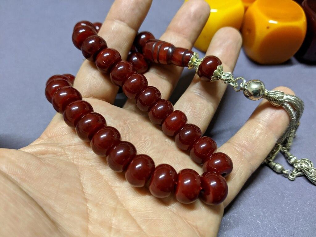 Ottoman Faturan German Amber Sandalous Misbaha Prayer Beads Islamic Gift Tasbih Tasbeeh Tasbeh Rosary Tasbih # 32B