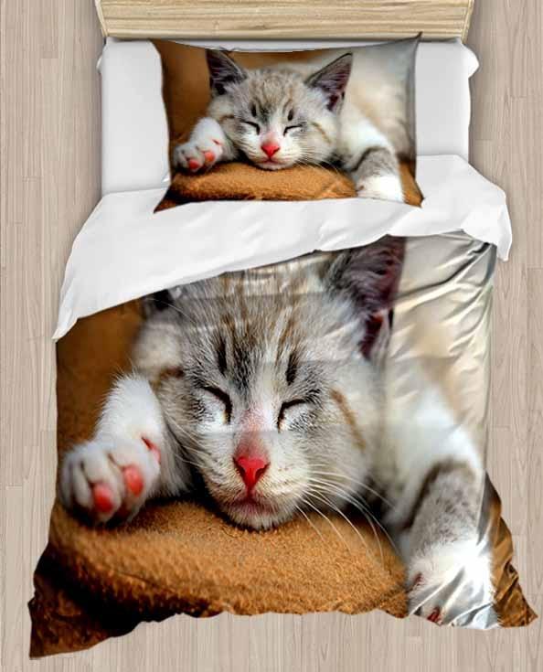 Else gris Sleepy Cute Cat en el sofá 4 piezas 3D estampado algodón satén único edredón funda de cama juego funda de almohada de cama sábana