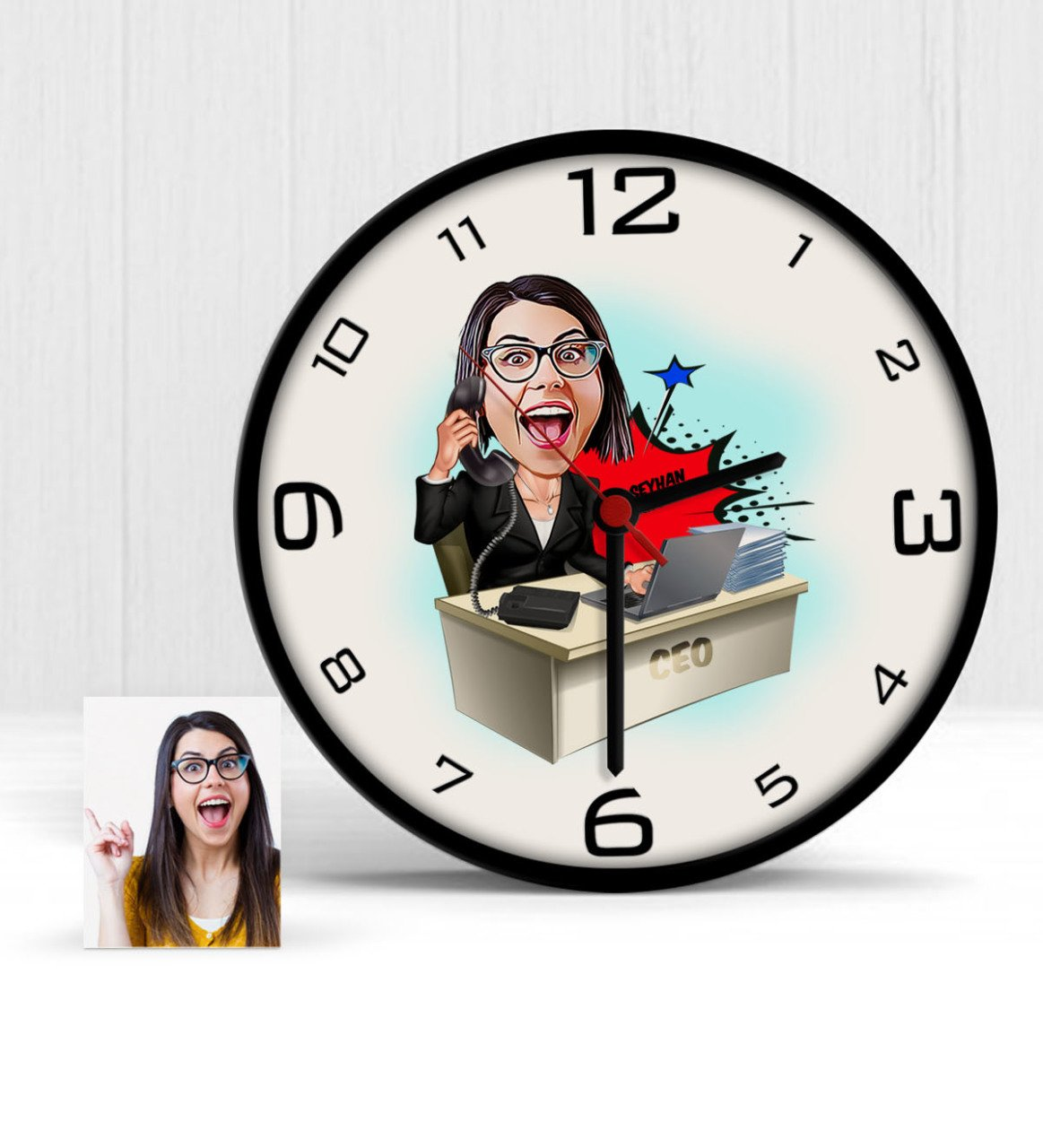 Reloj de pared de madera de dibujos animados CEO personalizado para mujer-1