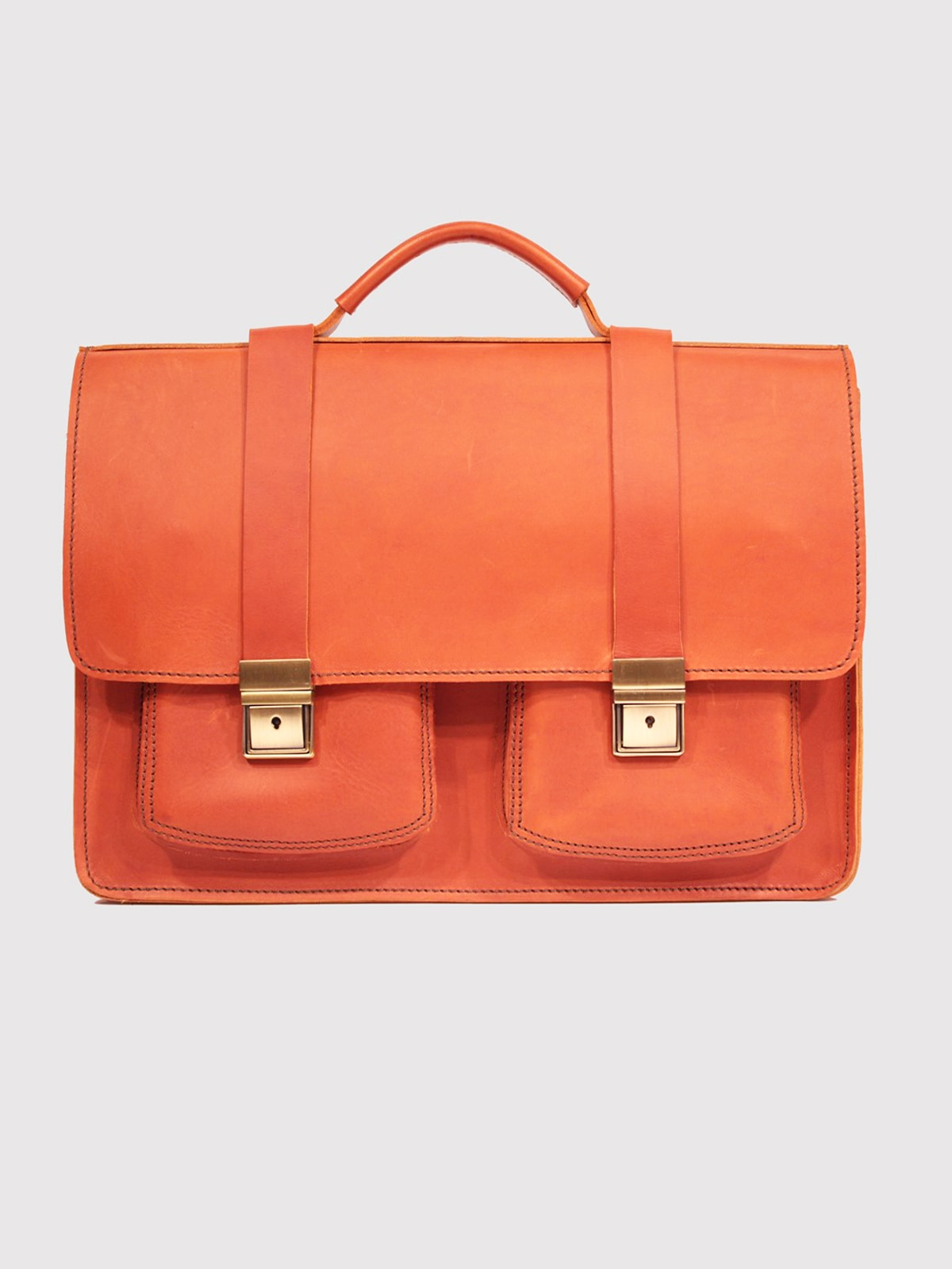Leather Briefcase Genuine Bag For Documents Men Women Teens Organizer Laptop B