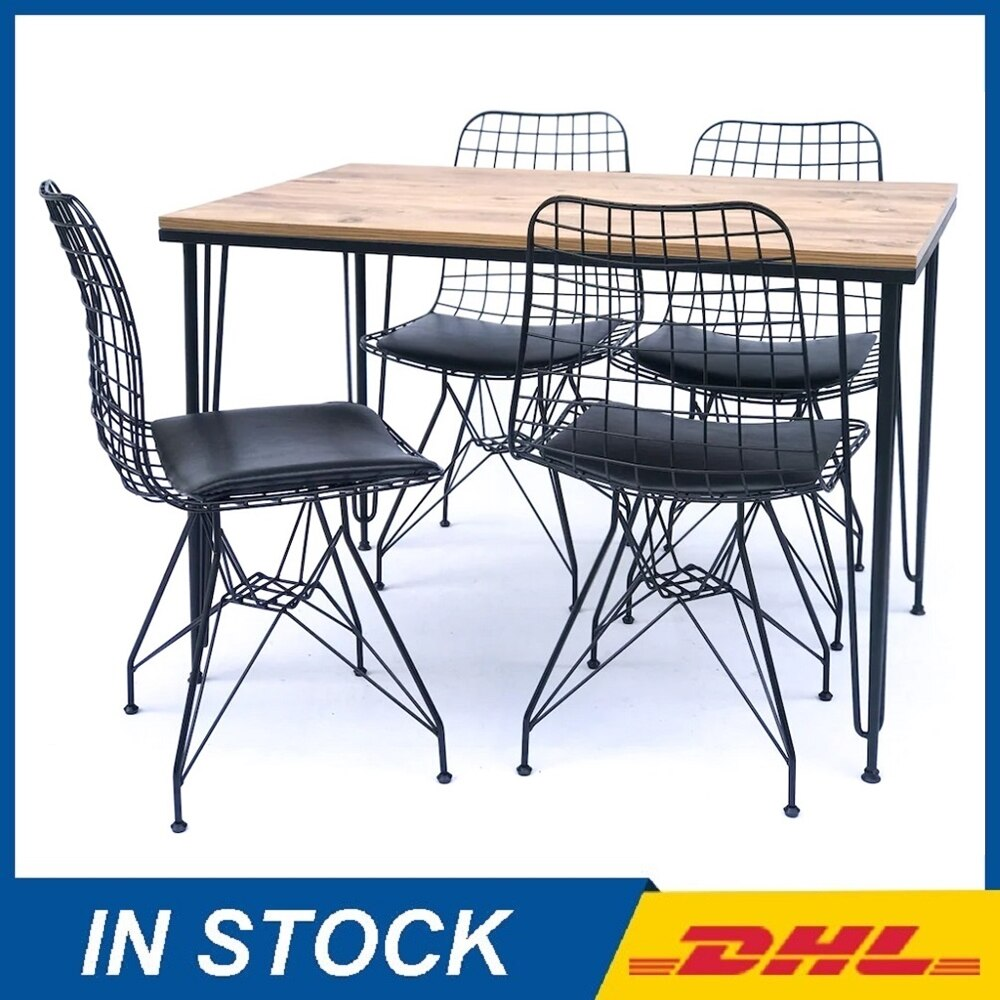 Kitchen Dining Table Set Furniture Chairs Metal Legs Wooden Top Panel Luxury Modern Made in TURKEY 5pcs dining chair set 4 chairs 1 dining table set wooden metal furniture brown black beige home kitchen office furniture