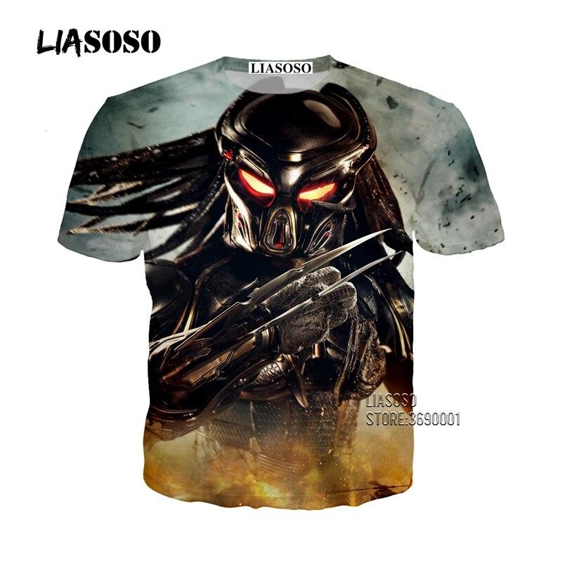 LIASOSO 3D imprimir mujeres hombres película The Predator camiseta verano camiseta pantalón corto Casual manga juvenil Streetwear X2686