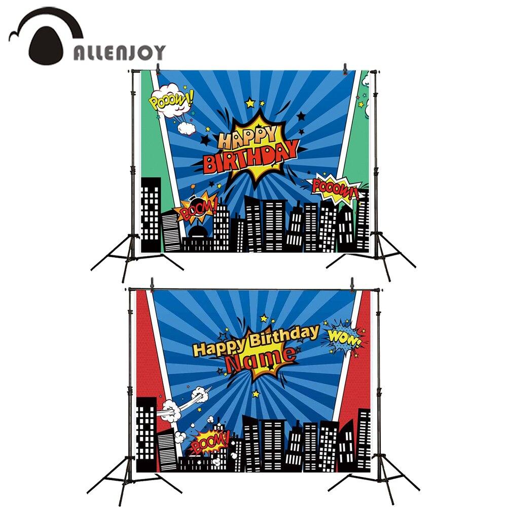 Fondo Allenjoy Pooow Boom Wow Photozone superhéroe noche paisaje urbano rayas estrellas Baby Shower cortinas para fiestas Feliz cumpleaños