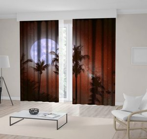 Curtain Palm Tree Tropical Beach Night with Milky Way Stars Full Moon in Vintage Colors Retro Style Artwork Brown Blue