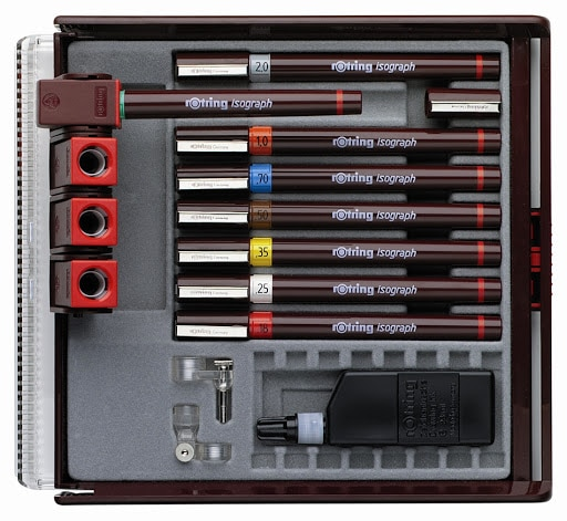 Rotring Isograph Set or 8 Technical Pen