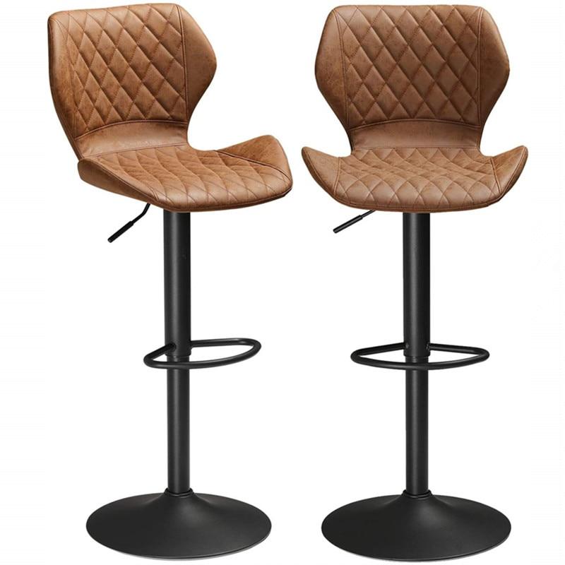 Set of 2 Stable PU Leather Bar Stools Kitchens Bar Stools Bar Chairs Breakfast Bar Stools Brown Adjustable Height Bar Stool amerihome 2 piece bar stool set black