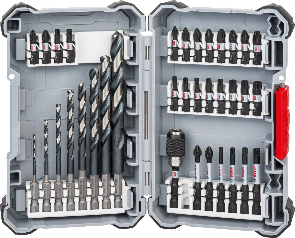 BOSCH 35-Teiliges Gemischtes Set Profi- Schraubendreher Industrie Tools Woodworking Tools Carpentry Tools Wood Cutters Drill bit