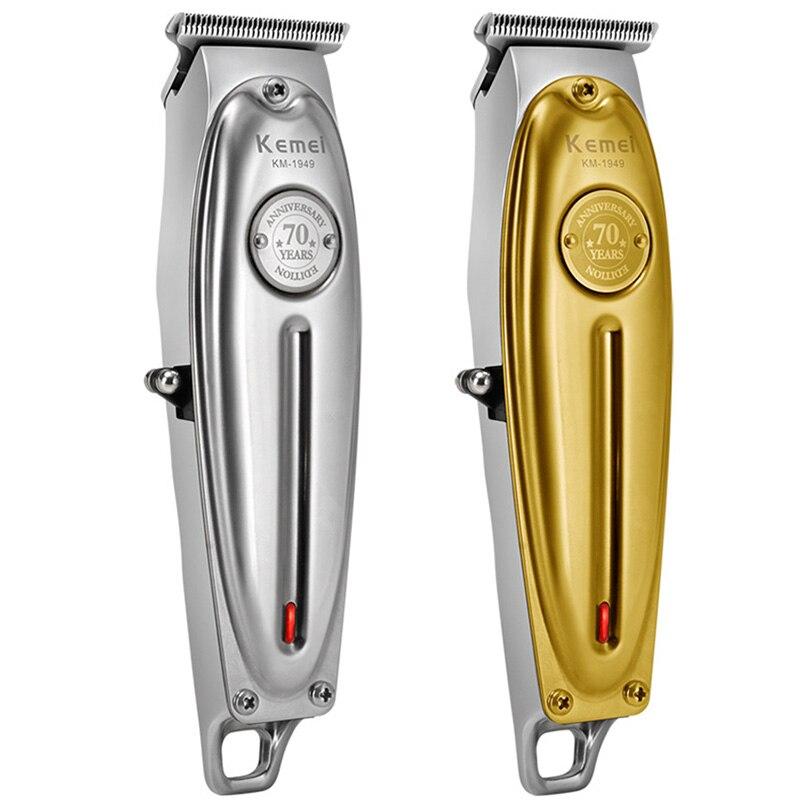 Kemei KM-1949 USB الشعر المقص للرجال المهنية الكلمات منحوتة الشعر قابلة للشحن المتقلب حلاقة آلة