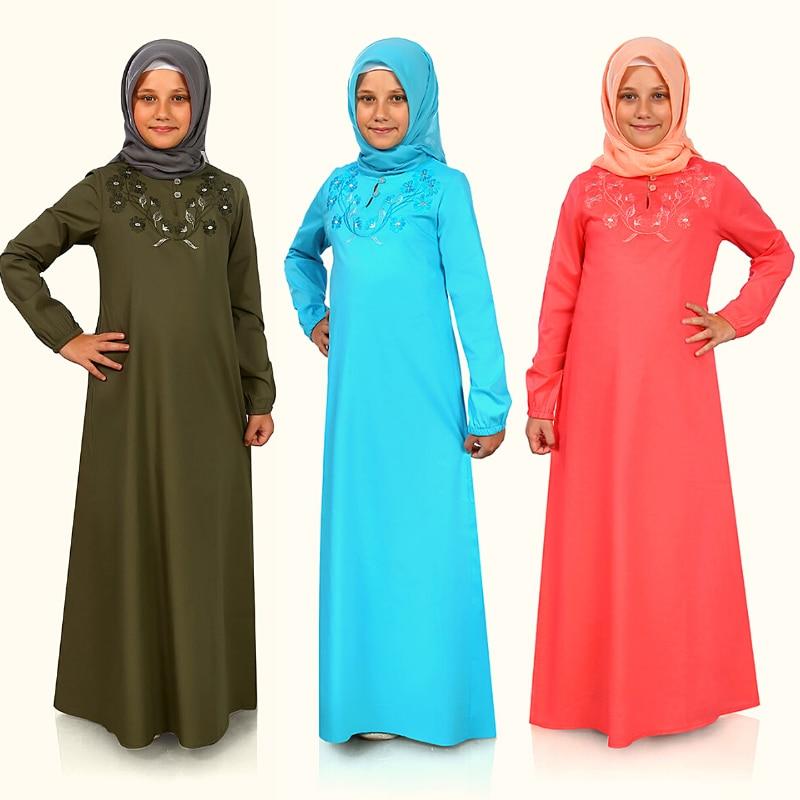 Muslim Kids Long Full Sleeve Casual Loose Elegant Large Size Ensembles Musulman Mujer Muslim Prayer Clothing Islamic Robe