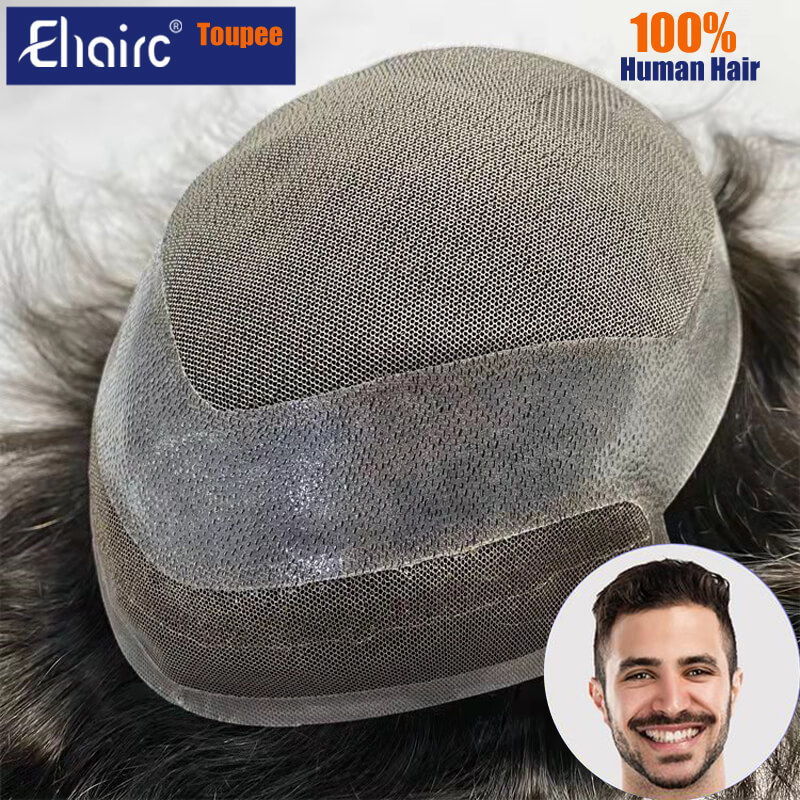 Hollywood-Toupee Lace & PU Base Human Hair Replacement System Unit Toupee Wig For Men Durable Male Hair Prosthesis Men's Wigs