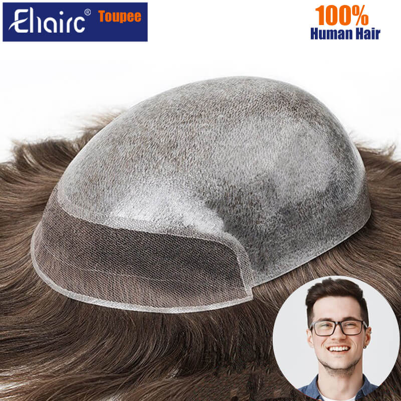 Bio-Toupee Man 0.06-0.08MM Skin and Lace Front Injected Hair System Unit Wig for Men Male Hair Prosthesis 100% Natural Hair Wig