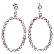 48x23mm SheCrown style européen créé rose Kunzite cadeau dames boucles doreilles en argent