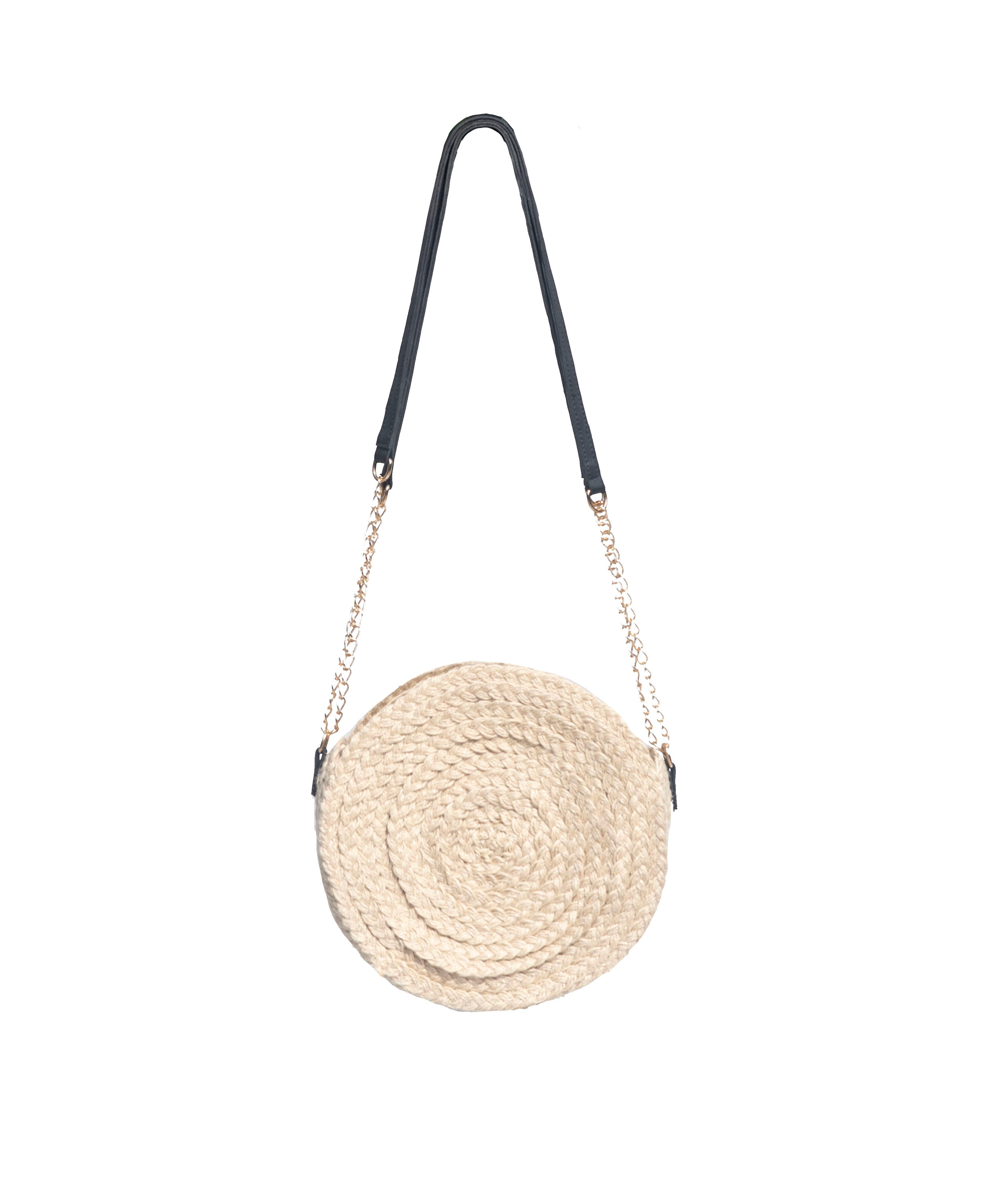 حقيبة يد نسائية كاجوال أنيقة ، حقيبة من الجوت والجلد مع سلسلة دائرية ، لون بيج ، للصيف